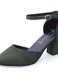 Mujer Sandalias PU Verano Vestido Hebilla Tacón Robusto Negro Gris Verde 5 - 7 cms