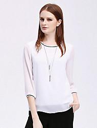 Damen Solide Einfach Normal T-shirt,Rundhalsausschnitt 3/4 Ärmel Polyester