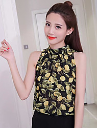 Women's Going out Vintage Blouse,Floral Round Neck Sleeveless Others