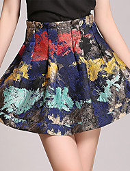 Women's Casual/Daily Above Knee Skirts,Sexy Cute A Line Floral Pleated Print Summer