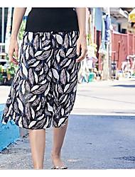 Feminino Simples Cintura Média Inelástico Perna larga Calças,Largo Estampado