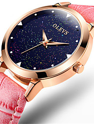 Women's Fashion Watch Quartz Water Resistant / Water Proof Leather Band Sparkle Red Pink