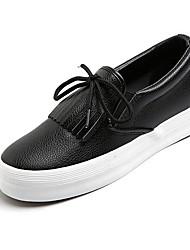 Damen Loafers & Slip-Ons PU Frühling Weiß Schwarz Silber Flach