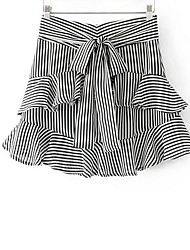 Women's Going out Mini Skirts Trumpet/Mermaid Striped Summer