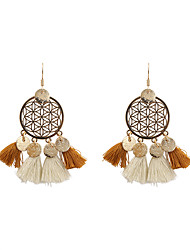 Fashion Women Filigree Metal Disc Fabric Tassel Drop Earrings