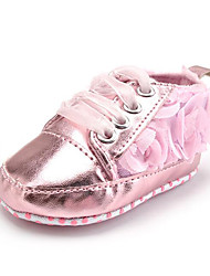 Newborn Baby Girls' Kids' Sneakers First Walkers Synthetic Fabric Fall Winter Party & Evening Dress Casual Ribbon Tie Flower Flat Heel Blushing Pink