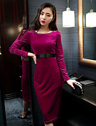 Women's Casual/Daily Simple Tunic Dress,Solid Round Neck Maxi Long Sleeve Cotton Summer Mid Rise Micro-elastic Medium