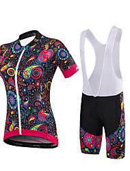 Maillot et Cuissard à Bretelles de Cyclisme Femme Manches Courtes VéloCuissard / Short Maillot Shorts Rembourrés Collant à