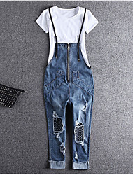 Women's Mid Rise strenchy Jeans Overalls Pants,Simple Harem Solid