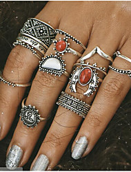 Vintage Carved Turquoise  Midi Rings Alloy Jewelry For Daily 1set