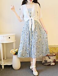 Ample Robe Femme SortiePoints Polka Col Arrondi Mi-long Manches Courtes Soie Eté Taille Basse Micro-élastique Moyen