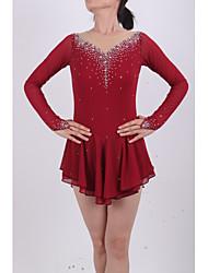 Robe de Patinage Femme Fille Manches Longues Patinage Jupes & Robes Robes Haute élasticité Robe de patinage artistiqueCompression Haute