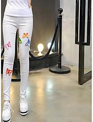 Damen Stickerei Einfarbig Legging