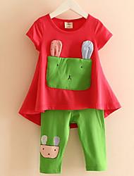 2017 Baby Girls' Wear children's Short Sleeve T-shirtPants Set Summer Leisure Suit