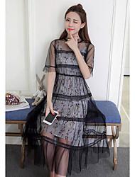 Damen Hülle Tunika Kleid-Lässig/Alltäglich Einfach Blumen Rundhalsausschnitt Midi Kurzarm Polyester Sommer Hohe Hüfthöhe Mikro-elastisch