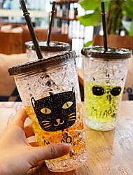 Creative Cat Face Large Capacity Double Suction Pipe Refrigeration Portable Ice Cup