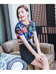 Damen Blumen Ablösen Sonstiges T-Shirt-Ärmel Rock Anzüge,Rundhalsausschnitt Sommer Kurzarm