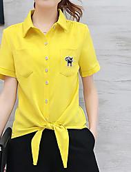 Feminino Camisa Calça Conjuntos Trabalho Moda de Rua Verão,Cor Única Colarinho de Camisa Manga Curta