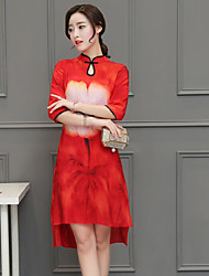 Feminino Túnicas Vestido,Diário Floral Colarinho Chinês Assimétrico Manga ¾ Poliéster Verão Cintura Alta Sem Elasticidade Fina