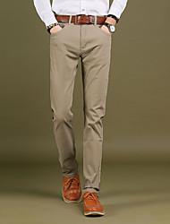 Homme simple Taille Normale Micro-élastique Droite Chino Pantalon,Droite Mince Couleur Pleine