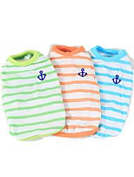 Hund T-shirt Hundekleidung Lässig/Alltäglich Streifen Orange Grün