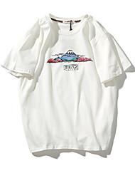 Tee-shirt Homme,Fleur Bureau/Carrière Athlétique Vintage Manches Courtes Col Arrondi Coton