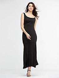 Women's Club Sexy Bodycon Dress,Solid Strap Maxi Sleeveless Red / Black Polyester Summer