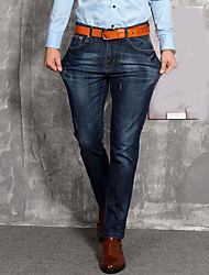 Men's Mid Rise Micro-elastic Jeans Pants,Simple Relaxed Solid