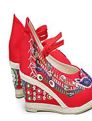 Femme Chaussures de mariage Tissu Printemps Noir Rouge Vert Plat