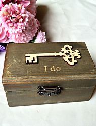 Wooden key  I do rectangle ring box - black