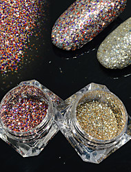 2bottles/set 0.2g/bottle Fashion DIY Shining Decoration Gorgeous Galaxy Starry Effect Nail Art Platinum Glitter Power BG03&06
