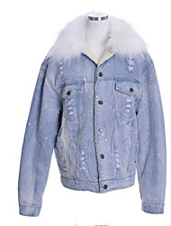 Women's Outdoor clothing Winter Denim Jacket,Solid Shawl Lapel Long Sleeve Regular Cotton