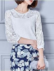 Damen Solide Einfach Lässig/Alltäglich T-shirt,Rundhalsausschnitt ¾-Arm Polyester