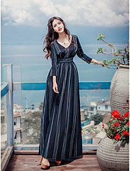Women's Party/Evening Vintage Sophisticated Swing Dress,Striped V Neck Maxi Long Sleeve Others Spring Summer High Rise Inelastic Medium