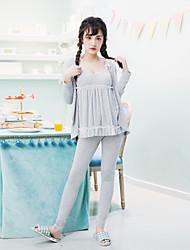 Женский 3pcs пижамы набор кружева патч v шею платье длинный рукав сладкий пижамы набор