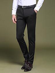 Hombre Sencillo Tiro Bajo Microelástico Traje Chinos Pantalones,Corte Recto Delgado Un Color Color puro