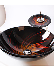 Contemporary Round Sink Material is Tempered Glass Bathroom Sink