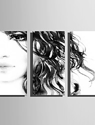 E-HOME Stretched Canvas Art Ink Painting Women Decoration Painting Set Of 3