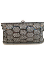 Women Fashion Clutches Evening Bag with Metal Frame in Gray