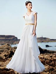 Robe de mariée en dentelle en mousseline de soie en mousseline de soie à col en v-cou avec robe à rayures