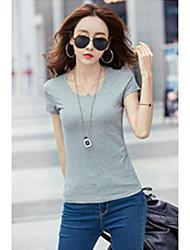Damen Solide Einfach Alltag T-shirt,Rundhalsausschnitt Kurzarm Baumwolle