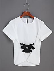 Damen Solide Niedlich Alltag T-shirt,Rundhalsausschnitt Kurzarm Baumwolle