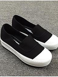 Damen Loafers & Slip-Ons Leinwand Frühling Weiß Schwarz Grau Flach