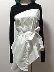 Damen Solide Einfach T-shirt,Rundhalsausschnitt Langarm Kunstseide