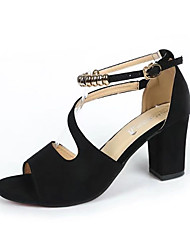Women's Sandals Gladiator Dull Polish All Match Comfort Suede Spring Summer Party & Evening Dress Comfort Beading Chunky Heel Blushing