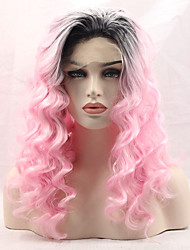 Cheap Natural Long Wavy Fashion Realistic Wig Ombre Pastel Pink Color Glueless Synthetic Lace Front Wig Half Hand Tied Hair for Women