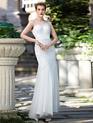 2017 Trumpet / Mermaid Wedding Dress - Elegant & Luxurious Sparkle & Shine Floor-length Jewel Tulle with Beading Sash / Ribbon Sequin
