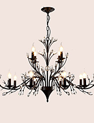 LightMyself 12 Lights Crystal Chandelier Modern/Contemporary Traditional/Classic Tiffany Vintage Retro Country Painting Feature for Living Room