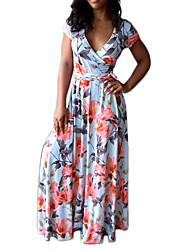 Feminino Bainha Vestido,Casual Feriado Sensual Vintage Boho Floral Decote V Longo Manga Curta Poliéster Primavera Verão Cintura Alta