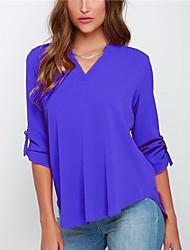 Damen Solide Einfach T-shirt,V-Ausschnitt ¾-Arm Andere